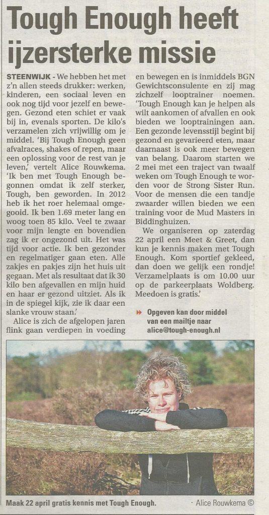 Krantenartikel van Tough Enough in de Steenwijker